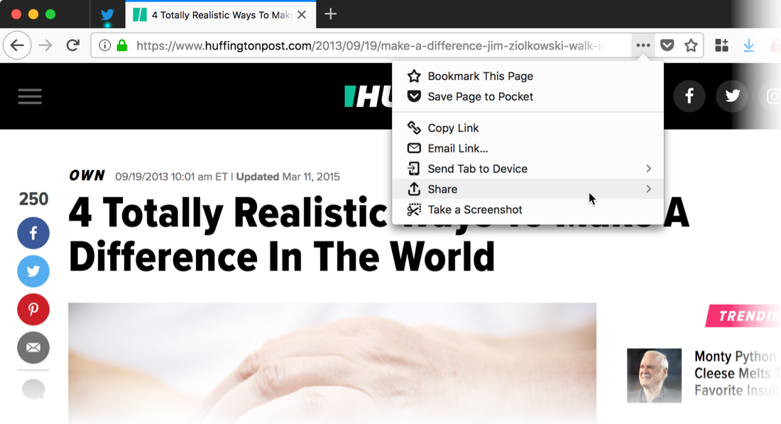 Firefox now supports the macOS share menu – Chris Ilias